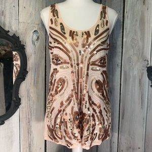 EXPRESS Peach w/Sequined Sleeveless Tank Top